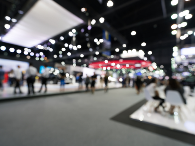 blurred picture of a trade show floor