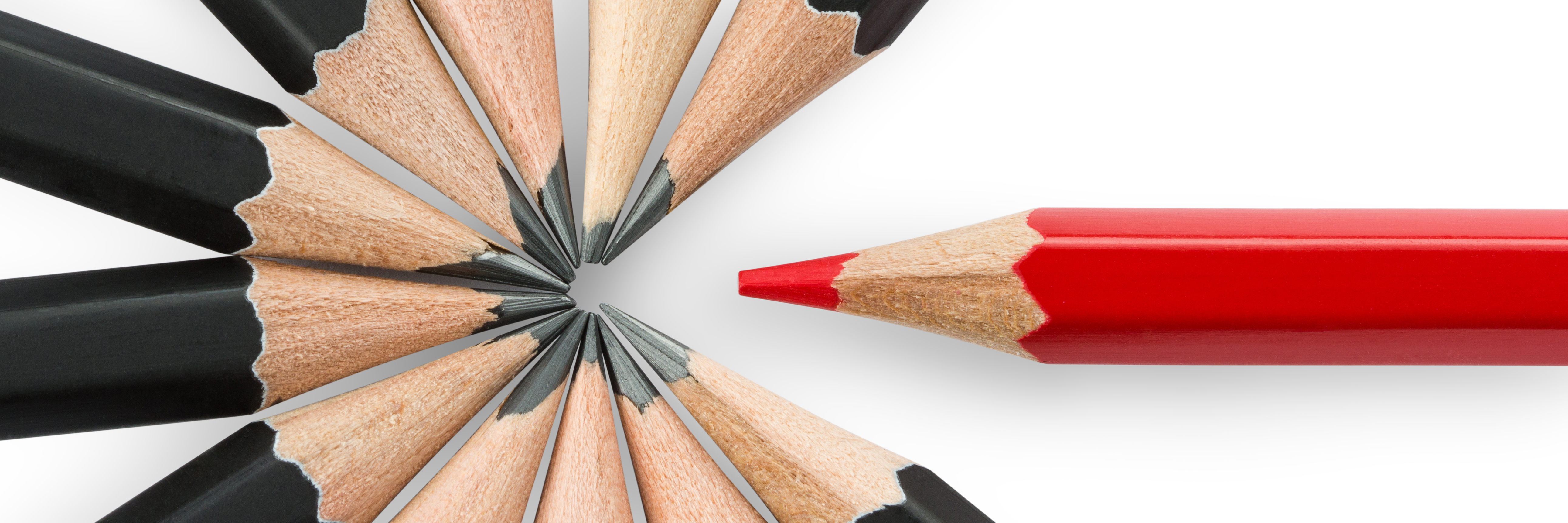 red trade show booth design pencil standing out amongst black pencils